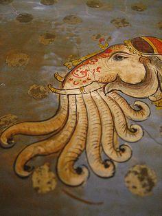 Airavat. Indra's multi-trunked elephant from Hindu mythology, at Juna Mahal, Dungarpur. Source: Meena Kadri