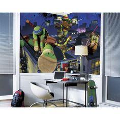 72 in. x 126 in. Teenage Mutant Ninja Turtles Cityscape Chair Rail Prepasted Wall Mural, Multi