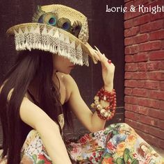 Handmade Peacock Feather & Chinese Ethnic Minority MIAO's Silver Tassels Travel Straw Hat for Female