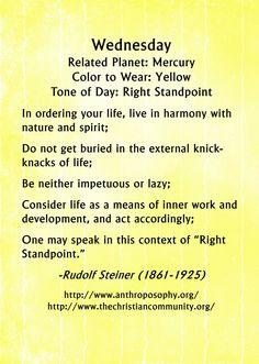 Rudolf Steiner on the energy of Wednesday