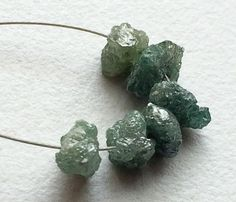 6 Pcs Large Hole Bead Blue Rough Diamond Beads by gemsforjewels