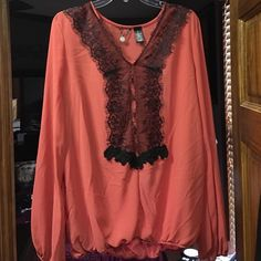 BKE Boutique Flowy Blouse Beautiful! Excellent condition BKE boutique Blouse. The flyaway is not included. This top is a pinkish orange color and is very cute worn with jeans BKE Tops Blouses