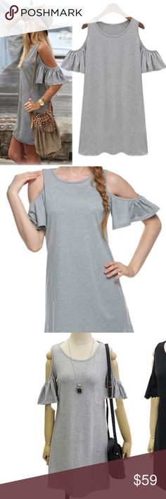 Grey Butterfly Sleeve Cute Cotton Plus Size 3XL Super Comfy Cute Cotton Plus Size 3XL ships direct from manufacturer with size label only. Easy Open Shoulder Butterfly Sleeve for your Sexy side. May be worn as a dress -mini or as a long tunic. Perfect Plus Size staple. NEW. See size chart for sizing details please. Dresses Mini