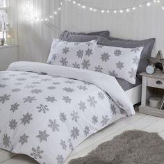 Snowflake Metallic White Duvet Cover and Pillowcase Set Christmas Bedding, Christmas Home, Christmas 2019, White Duvet Covers, Winter Theme, Duvet Sets, Snowflakes, Pillow Cases, Colours