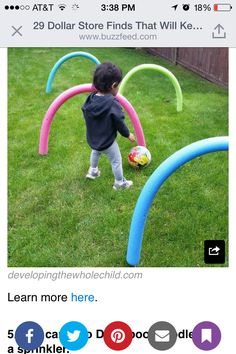 Kids Health Have some fun outdoors this summer by making this super easy and cheap obstacle course using pool noodles from the dollar store and bbq skewers. Great for children who are learning to crawl or for older kids to practice ball skills. Outside Activities, Summer Activities, Summer Games, Outside Games For Kids, Soccer Games For Kids, Kids Outdoor Play, Kid Outdoor Games, Outdoor Toys For Toddlers, Indoor Games