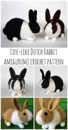 Crochet Bunny - Dutch Rabbit Amigurumi Pattern - Crochet News - Kids, Inc. - Dutch rabbit – realistic rabbit amigurumi crochet pattern You are in the right place about amiguru - Crochet Crafts, Crochet Dolls, Yarn Crafts, Crochet Projects, Wood Crafts, Diy Crafts, Doilies Crochet, Crochet Afghans, Crochet Bags