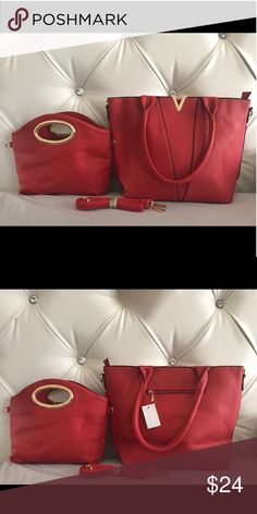 BNWT red handbag and matching mini set Brand New with tags   Absolutely gorgeous red color handbag purse   Comes with strap so you can use it as a shoulder bag if you'd like   It also comes with a mini Both have zipper closure on top mini bag is also compatible with the straps in case you want to carry it as a mini shoulder bag  FAST SHIPPING  SAME DAY OR NEXT DAY DEPENDING ON TIME OF PURCHASE Bags Shoulder Bags