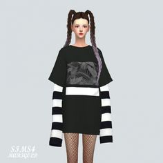 Boxy T-shirt With Long Sleeve at Marigold • Sims 4 Updates
