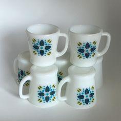 Set of 7 Fire King Swiss Alpine aka Swiss Chalet 8 oz. Mugs or Coffee Cups #AnchorHockingFireKing