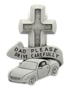 "Tell Dad how much he means to you and that you want his travels to always be safe.  Visor clip is made of lead free pewter metal and features an image of a car with a Cross on top of it. At the center, these images are separated by a banner that reads, ""Dad Please Drive Carefully.""  Makes for a great Father's Day gift."