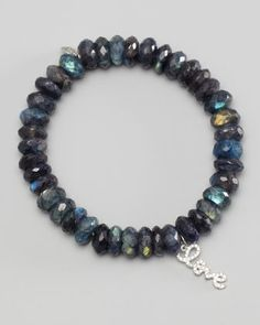 Sydney Evan 10mm Mystic Gray Moonstone Bracelet with Diamond Skull Charm teLUSY