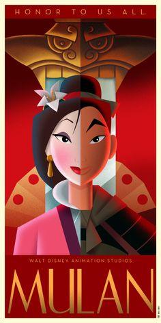 Disney Art Deco Poster : Mulan - David G. Disney Magic, Disney Pixar, Disney Fan Art, Heros Disney, Disney E Dreamworks, Disney Love, Film Disney, Punk Disney, Disney Facts