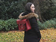Classic Red Leather Satchel Backpack 15 Inch