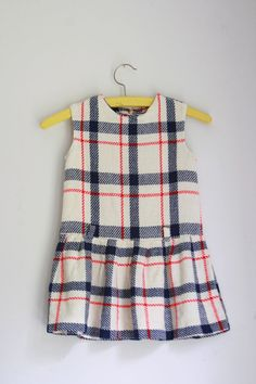Vintage girls dress back to school plaid 3/4T by fuzzymama on Etsy, $12.50