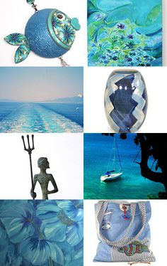 Blue fish swimming in blue sea by Anne Marie on Etsy--Pinned with TreasuryPin.com