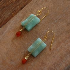 Gold Wire Wrapped Carnelian and Amazonite Gemstones with Gold Plated Brass Ear Wires