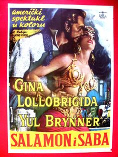 SALOMON & SHEBA 1959  SEXY  LOLLOBRIGIDA  YUL BRYNER MEGA RARE EXYU MOVIE POSTER