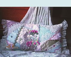 I ❤ crazy quilting & ribbon embroidery . . .  CQ pillow ~By Annette Graves- gorgeous!