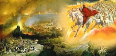 """Jesus Returns with His Army on White Horses. BIBLE SCRIPTURE: Revelation """"And I saw heaven opened, and behold a white horse; and he that sat upon him was called Faithful and True, and in righteousness he doth judge and make war. Art Prophétique, Arte Judaica, Revelation 19, Prophetic Art, The Son Of Man, Early Christian, Christian Metal, Christian Art, Christian Quotes"""
