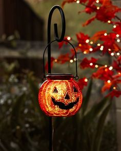 """Light the way. Illuminate a path that leads to the joys of fall. Our Solar-Powered Jack-O'-Lantern Pathway Lights comes with 39"""" metal stakes for outdoor use. Outdoor Halloween, Halloween Night, Outdoor Christmas, Halloween Season, Happy Halloween, Pathway Lighting, Lighting Ideas, Outdoor Lighting, Christmas House Lights"""