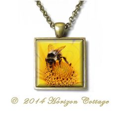 Bumblebee Honey Bee Busy Bee  Key Ring or by HorizonCottage