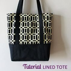 Tutorial: Lined Canvas Tote | Step by step directions how to sew a fully lined…