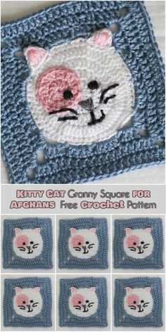 5e5a920e7e8e6 Kitty Cat Granny Square for Afghans  Free Crochet Pattern  Follow us for  ONLY FREE