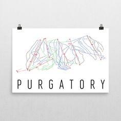 Purgatory Ski Map Art, Purgatory CO, Purgatory Trail Map, Purgatory Ski Resort Print, Purgatory Ski Poster, Purgatory Mountain, Art, Gift