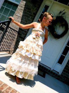 Vintage Ivy Lace and Satin toddler to tween Flower Girl Wedding Dress. $179.00, via Etsy.