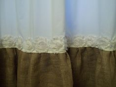 shabby floral trim burlap shower curtain burlap u0026 cotton gathered shower curtain