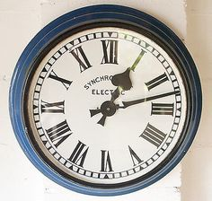Vintage Industrial Synchronome Indoor/ Outdoor Factory Railway Enamel Wall Clock