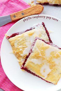 Phyllo Raspberry Pop Tarts with Vanilla Glaze | www.diethood.com | Layers of Phyllo Sheets filled with Raspberry Jam and topped with a sweet Vanilla Glaze.