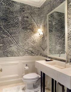 Fun map of Paris wallpaper in this powder room.