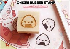 Hand-carved rubber stamp, onigiri ball ||| DIY, planner, stationery, for sushi dates and being cute