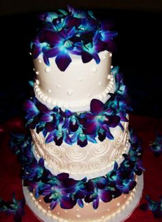 wedding cake with blue orchids, it almost glows