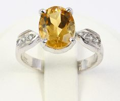 Beautiful Citrine&Zircon Gemstone 925 Sterling Silver Wedding Ring for Women  #Handmade #Ring