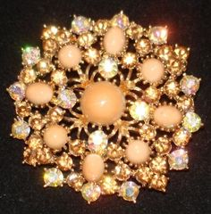Weiss vintage snowflake brooch signed crystals stones