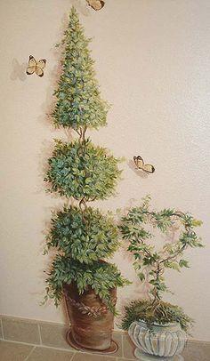 https://flic.kr/p/bCK9po | Trompe l'oeil Topiaries on Wall