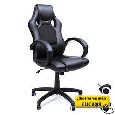 Songmics Racing Silla de escritorio computadora oficina Ergonómica Regulable PU Metal cromado 111-121 cm Negro OBG56B #sillon #oficina
