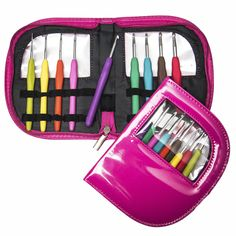 Ergo Hooks-Ergonomic Crochet Hooks:Cushion Grip for Ultimate Comfort. Includes 9 Pcs Color Coded Crochet Hooks Set + See-through Case