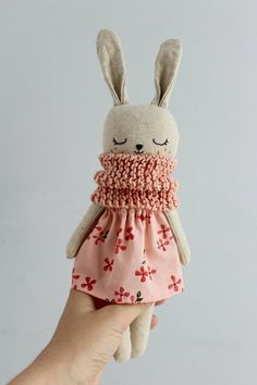 Bunny doll with pink dress and scarf. Eco friendly baby gift - Bunny doll with pink dress and knitted scarf. Fabric Toys, Fabric Crafts, Cat Doll, Sewing Dolls, Cute Toys, Cute Bunny, Stuffed Toys Patterns, Handmade Toys, Doll Toys