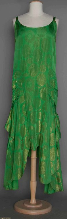 Green & Gold Lame Evening Gown, 1928-1930, Augusta Auctions, November 11, 2015 NYC