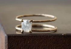 Natural Rose-Cut Diamond Cage Ring