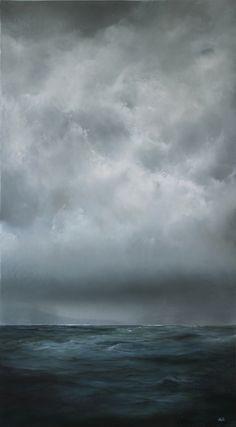 """Sink or Swim"" 20"" x 36"" oil on wood panel adamhallart.com Ocean Painting"