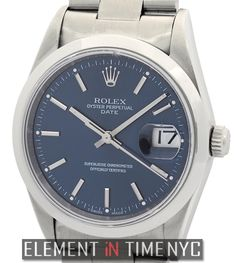 #Rolex Oyster Perpetual Date 34mm iN Stainless Steel With A Blue Stick Dial Circa 1998 (Reference Number: 15200)