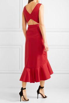 Салони | Зоуи вырез смесь хлопка поплин платье миди | NET-A-PORTER.COM