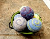 Ovella wool dryer balls. The Terra Swirl Collection. Set of Three (3) Natural dye, earth tones, pretty, colorful, pink, purple, blue, yellow - pinned by pin4etsy.com