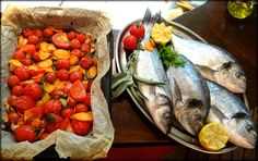 Fresh dried cherry tomatoes and fresh fish. photo by bemyguest. Top 10 Restaurants, Cherry Tomatoes, Croatia, Menu, Fish, Travel, Rovinj Croatia, Menu Board Design, Viajes