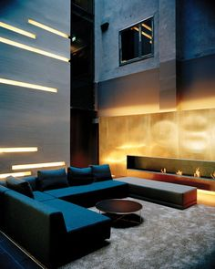 Fantastic mix of textures and surfaces in this room. Amazing light installation as well.
