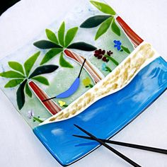 tropical fused glass